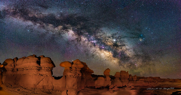Goblin Valley State Park, Utah, Panorama with Milky Way