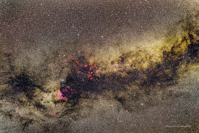 The Milky Way in Cygnus. Note the Veil Nebula lower center. (view full screen to avoid aliasing effects)