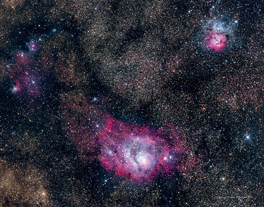 The Lagoon nebula (bittom center), Trifid nebula (top right) and IC 4685 (middle left)