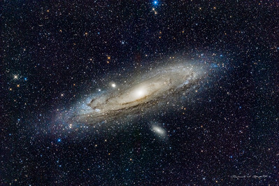 M31 shot on the new pier on Sept 9 2018. 20X5 min exposures. e180ED +D850. SQM=19.77. Color set by PCC in PixInsight.