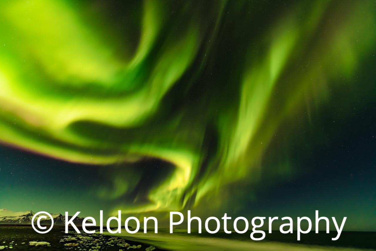Northern Lights, Diamond Beach, Jokulsarlon, Iceland