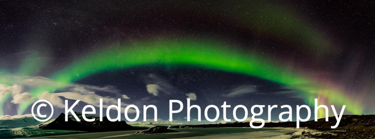 Aurora Rainbow, Fjallsarlon, Iceland