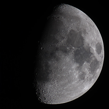 """Target:  Moon (North is up, 9.5 days old, 0.666 illuminated, magnitude -10.9, diameter 31' 58"""")<br /> <br /> Altitude:   22.7 degrees<br /> <br /> Distance from Earth:  00  00' 1.2"""" light-time<br /> <br /> Date/Time:  10/01/06 1956 EST<br /> <br /> Mount:  Takahashi NJP Temma II<br /> <br /> Telescope:  Takahashi FS-60C (FL=354, f/5.9) and Hutech IR/UV blocking filter<br /> <br /> Camera:  Lumenera Lu075c<br /> <br /> Focus:  Tak 10-1 Micro edge focuser & VSE MicroGlide focuser<br /> <br /> Sky conditions:  transparency 4/5, seeing 3/5, wind light, humidity 75-80%, temp I/O 53.2/54.1F<br /> <br /> Images:  Captured with LuCam Recorder 1.7.0.0 at an image scale of 4.31 arcsec/pixel; 1015 light frames captured to RAM over 21 seconds (49 FPS); 200 flat and dark frames captured and used to calibrate the light frames<br /> <br /> Processing:  RegiStax 3.0.1.24 and Photoshop CS 8.0"""