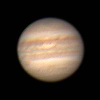 "Target:  Jupiter (North is up, diameter 40"", magnitude -2.3)<br /> <br /> Altitude:  22.8 degrees<br /> <br /> Date/Time:  04/03/2007 0410 DST<br /> <br /> Mount:  Takahashi NJP Temma II<br /> <br /> Telescope:  TEC-200 Maksutov with TeleVue 2x PowerMate (f/31.0) and Hutech IR/UV blocking filter<br /> <br /> Camera:  Lumenera Lu075c<br /> <br /> Focus:  TEC micrometer focuser & VSE Epsilon focuser<br /> <br /> Sky conditions:  transparency 2/5, seeing 3/5, 6-11 mph, humidity 70-75%, temp I/O 48.7F/50.9F<br /> <br /> Images:  Captured with LuCam Recorder 1.7.0.21 at an image scale of 0.24 arcsec/pixel; 1004 frames captured over 122 seconds (8.6 fps)<br /> <br /> Processing:  RegiStax 4.0.1.1, the best 401 frames were aligned and stacked.  Post-processing in Photoshop CS3 and Picture Window Pro 4.0.  Image downsampled (revised 06/13/08)"