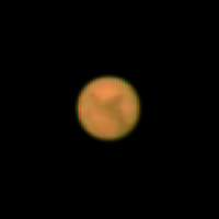 "Target:  Mars (North is up, diameter 20.2"", magnitude -2.3)<br /> <br /> Altitude:  65.5 degrees<br /> <br /> Image FOV:  60 x 60 arcsec<br /> <br /> Date/Time:  10/31/05 0035 EST<br /> <br /> Mount:  Takahashi NJP Temma II<br /> <br /> Telescope:  TEC-200 Maksutov (f/15.5) and Hutech IR/UV blocking filter <br /> <br /> Camera:  Lumenera Lu075c<br /> <br /> Focus:  TEC micrometer focuser & VSE MicroGlide focuser<br /> <br /> Sky conditions:  transparency 4/5, seeing 3/5<br /> <br /> Images:  Captured with StreamPix 3.18.2 at an image scale of 0.49 arcsec/pixel; 1800 frames captured over 2 minutes (15 fps)<br /> <br /> Processing:  AVI image file was processed in RegiStax 4.0.1.1, the best 600 frames were aligned and stacked.  Post-processing in Photoshop CS3 (revised 06/14/08)"