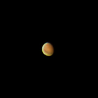 """Target:  Mars (North is up, diameter 8.9"""", magnitude 0.1)<br /> <br /> Altitude:  67.7 degrees<br /> <br /> Image FOV:  60 x 60 arcsec<br /> <br /> Date/Time:  09/17/07 0608 EDT<br /> <br /> Mount:  Takahashi NJP Temma II<br /> <br /> Telescope:  Takahashi TOA-130 refractor with TeleVue 5.0x PowerMate (f/38.5) and Baader IR/UV blocking filter<br /> <br /> Camera:  Lumenera Lu075c<br /> <br /> Focus:  Finger Lakes Instrumentation DF-2  focuser<br /> <br /> Sky conditions:  transparency 3/5, seeing 4/5, surface winds 6-11 mph, winds at 300mb 20-30 knots, humidity 80-85%, temp I/O 37.4/38.8F<br /> <br /> Images:  Captured with LuCam Recorder 1.7.0.21 at an image scale of 0.30 arcsec/pixel; 1462 frames captured over 60 seconds (24.3 fps)<br /> <br /> Processing:  SER image file was processed in RegiStax 4.0.1.1, the best 801 frames were aligned and stacked.  Post-processing in Photoshop CS3 (revised 06/14/08)"""