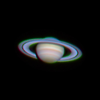 """Target:  Saturn (North is up, diameter 20"""", magnitude -0.3)<br /> <br /> Date/Time:  03/07/06 2017 EST<br /> <br /> Altitude:  61.4 degrees<br /> <br /> Mount:  Takahashi NJP Temma II<br /> <br /> Telescope:  TEC-200 Maksutov with TeleVue 2x (f/31.0) and Hutech IR/UV blocking filter  <br /> <br /> Camera:  Lumenera Lu075c<br /> <br /> Focus:  TEC micrometer focuser<br /> <br /> Sky conditions:  transparency 3/5, seeing 3/5, wind light, humidity 55-60 %, temp I/O 30.0 F/33.4 F<br /> <br /> Images:  Captured with LuCam Recorder 1.4.22 at an image scale of 0.24 arcsec/pixel; 895 frames captured over 2 minutes (7.5 fps)<br /> <br /> Processing:  RegiStax 4.0.1.1, the best 800 frames were aligned and stacked.  Post-processing in Photoshop CS3 and Picture Window Pro 4.0.  Image downsampled (revised 06/14/08)"""