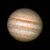 "Target:  Jupiter (North is up, diameter 45.8"", magnitude 0.7)<br /> <br /> Altitude:  27.4 degrees<br /> <br /> Image FOV:  60 x 60 arcsec<br /> <br /> Date/Time:  06/09/08 0420 EDT<br /> <br /> Mount:  Takahashi NJP Temma II<br /> <br /> Telescope:  Takahashi TOA-130 refractor with TeleVue 5.0x PowerMate (f/38.5) and Baader IR/UV blocking filter<br /> <br /> Camera:  Lumenera Lu075c<br /> <br /> Focus:  Finger Lakes Instrumentation DF-2 focuser<br /> <br /> Sky conditions:  transparency 3/5, seeing 3/5<br /> <br /> Images:  Captured with LuCam Recorder 1.7.0.21 at an image scale of 0.30 arcsec/pixel; 730 frames captured over 60 seconds (12.2 fps)<br /> <br /> Processing:  SER image file was processed in RegiStax 4.0.1.1, the best 600 frames were aligned and stacked.  Post-processing in Photoshop CS3 and Picture Window Pro 4.0 (revised 06/14/08)"