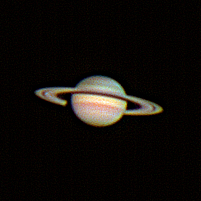 "Target:  Saturn (North is up, diameter 17.8"", magnitude 0.7)<br /> <br /> Altitude:  54.6 degrees<br /> <br /> Image FOV:  60 x 60 arcsec<br /> <br /> Date/Time:  05/25/08 2122 EDT<br /> <br /> Mount:  Takahashi NJP Temma II<br /> <br /> Telescope:  Takahashi TOA-130 refractor with TeleVue 5.0x PowerMate (f/38.5) and Baader IR/UV blocking filter<br /> <br /> Camera:  Lumenera Lu075c<br /> <br /> Focus:  Finger Lakes Instrumentation DF-2  focuser<br /> <br /> Sky conditions:  transparency 4/5, seeing 3/5<br /> <br /> Images:  Captured with LuCam Recorder 1.7.0.21 at an image scale of 0.30 arcsec/pixel; 5000 frames captured over 410 seconds (12.2 fps)<br /> <br /> Processing:  SER image file was processed in RegiStax 4.0.1.1, the best 900 frames were aligned and stacked.  Post-processing in Photoshop CS3 and Picture Window Pro 4.0 (revised 06/14/08)"