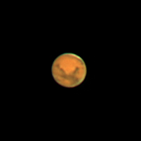 "Target:  Mars (North is up, diameter 15.7"", magnitude -1.6)<br /> <br /> Altitude:  52.1 degrees<br /> <br /> Image FOV:  60 x 60 arcsec<br /> <br /> Date/Time:  12/26/07 0159 EDT<br /> <br /> Mount:  Takahashi NJP Temma II<br /> <br /> Telescope:  Takahashi TOA-130 refractor with TeleVue 5.0x PowerMate (f/38.5) and Baader IR/UV blocking filter<br /> <br /> Camera:  Lumenera Lu075c<br /> <br /> Focus:  Finger Lakes Instrumentation DF-2  focuser<br /> <br /> Sky conditions:  transparency 3/5, seeing 4/5<br /> <br /> Images:  Captured with LuCam Recorder 1.7.0.21 at an image scale of 0.30 arcsec/pixel; 1462 frames captured over 60 seconds (24.3 fps)<br /> <br /> Processing:  SER image file was processed in RegiStax 4.0.1.1, the best 900 frames were aligned and stacked.  Post-processing in Photoshop CS3 (revised 06/14/08)"