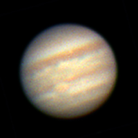 "Target:  Jupiter (North is up, diameter 42"", magnitude -2.4)<br /> <br /> Altitude:  28.8 degrees<br /> <br /> Date/Time:  06/18/06 0008 EDT<br /> <br /> Mount:  Takahashi EM-200 Temma II<br /> <br /> Telescope:  TEC-200 Maksutov with TeleVue 2x PowerMate (f/31.0) and Hutech IR/UV blocking filter<br /> <br /> Camera:  Lumenera Lu075c<br /> <br /> Focus:  TEC micrometer focuser & NGF-CM focuser<br /> <br /> Sky conditions:  transparency 3/5, seeing 4/5, wind light to moderate, humidity 50-55%, temp I/O 71.4F/70.9F<br /> <br /> Images:  Captured with LuCam Recorder 1.6.02 at an image scale of 0.24 arcsec/pixel; 1977 frames captured over 120 seconds (16.5 fps)<br /> <br /> Processing:  RegiStax 4.0.1.1, the best 400 frames were aligned and stacked.  Post-processing in Photoshop CS3 and Picture Window Pro 4.0.  Image downsampled (revised 06/13/08)"