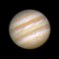 """Target:  Jupiter (North is up, diameter 44"""", magnitude -2.5)<br /> <br /> Altitude:  33.4 degrees<br /> <br /> Date/Time:  05/29/06 0035 EDT<br /> <br /> Mount:  Takahashi NJP Temma II<br /> <br /> Telescope:  TEC-200 Maksutov with TeleVue 2x PowerMate (f/31.0) and Hutech IR/UV blocking filter<br /> <br /> Camera:  Lumenera Lu075c<br /> <br /> Focus:  TEC micrometer focuser & VSE MicroGlide focuser<br /> <br /> Sky conditions:  transparency 3/5, seeing 4/5, wind calm, humidity 70-75%, temp I/O 64.4F/63.9F<br /> <br /> Images:  Captured with LuCam Recorder 1.45 Beta at an image scale of 0.24 arcsec/pixel; 493 frames captured over 60 seconds (8.2 fps)<br /> <br /> Processing:  RegiStax 4.0.1.1, the best 399 frames were aligned and stacked.  Post-processing in Photoshop CS3 and Picture Window Pro 4.0.  Image downsampled (revised 06/13/08)"""