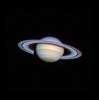"Target:  Saturn (North is up, diameter 19"", magnitude 0.3)<br /> <br /> Altitude:  65.9 degrees<br /> <br /> Date/Time:  04/21/2007 2035 DST<br /> <br /> Mount:  Takahashi NJP Temma II<br /> <br /> Telescope:  TEC-200 Maksutov with TeleVue 2x PowerMate (f/31.0) and Hutech IR/UV blocking filter<br /> <br /> Camera:  Lumenera Lu075c<br /> <br /> Focus:  TEC micrometer focuser & VSE Epsilon focuser<br /> <br /> Sky conditions:  transparency 3/5, seeing 4/5, 6-11 mph, humidity 55-60%, temp I/O 58.5/59.9F<br /> <br /> Images:  Captured with LuCam Recorder 1.7.0.21 at an image scale of 0.24 arcsec/pixel; 1862 frames captured over 127 seconds (8.2 fps)<br /> <br /> Processing:  RegiStax 4.0.1.1, the best 902 frames were aligned and stacked.  Post-processing in Photoshop CS3 and Picture Window Pro 4.0.  Image downsampled (revised 06/13/08)"
