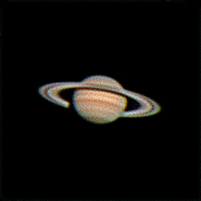 "Target:  Saturn (North is up, diameter 17"", magnitude 0.5)<br /> <br /> Altitude:  39.0 degrees<br /> <br /> Date/Time:  06/11/2007 2101 DST<br /> <br /> Mount:  Takahashi NJP Temma II<br /> <br /> Telescope:  Takahashi TOA-130 refractor with TeleVue 5.0x PowerMate (f/38.5) and Baader IR/UV blocking filter<br /> <br /> Camera:  Lumenera Lu075c<br /> <br /> Focus:  Tak Micro Edge focuser & VSE MicroGlide focuser<br /> <br /> Sky conditions:  transparency 4/5, seeing 3/5, winds 6-11 mph, humidity 50-55%, temp I/O 69.4/68.9F<br /> <br /> Images:  Captured with LuCam Recorder 1.7.0.21 at an image scale of 0.30 arcsec/pixel; 4952 frames captured over 407 seconds (12.2 fps)<br /> <br /> Processing:  SER image file was processed in RegiStax 4.0.1.1, 901 frames were aligned and stacked.  Post-processing in Photoshop CS and Picture Window Pro 4.0 (revised 06/14/08)"