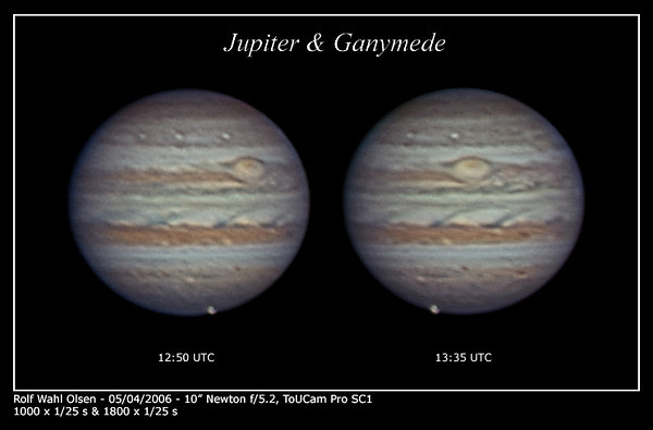 Jupiter Rotation and Ganymede Surface Details