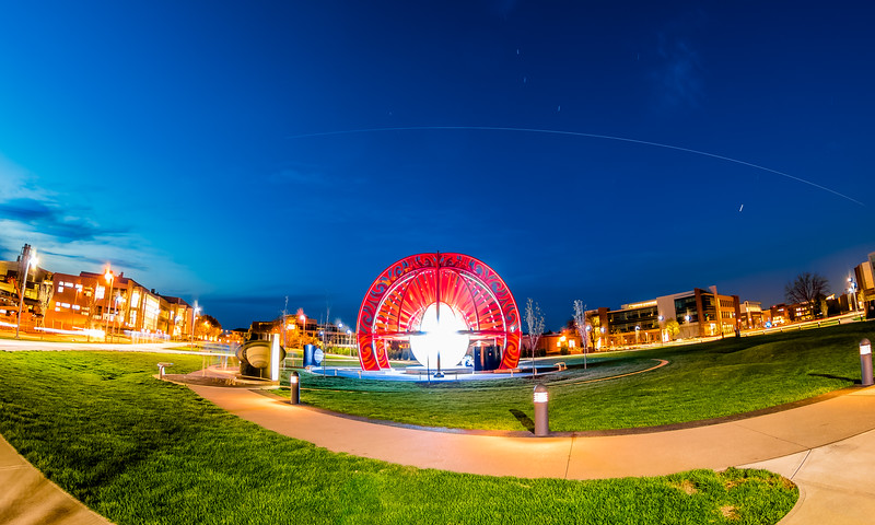 Space Station passing over the VOSS Solar System Sculpture at Purdue University