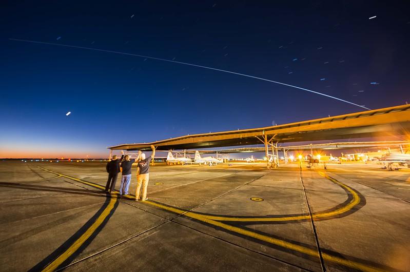 The International Space Station flying over the NASA T38 flightline at Ellington Field Joint Reserve Base.