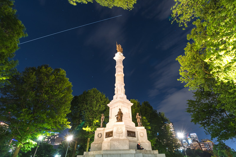 The Int'l Space Station flying high above the Soldiers and Sailors Monument on Boston Common.