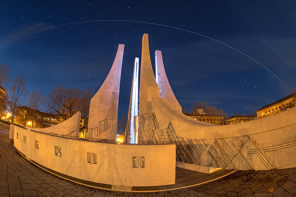 The Int'l Space Station flies over the Engineering Fountain at Purdue University in West Lafayette, Indiana at 6:54 PM on January 28th, 2018.