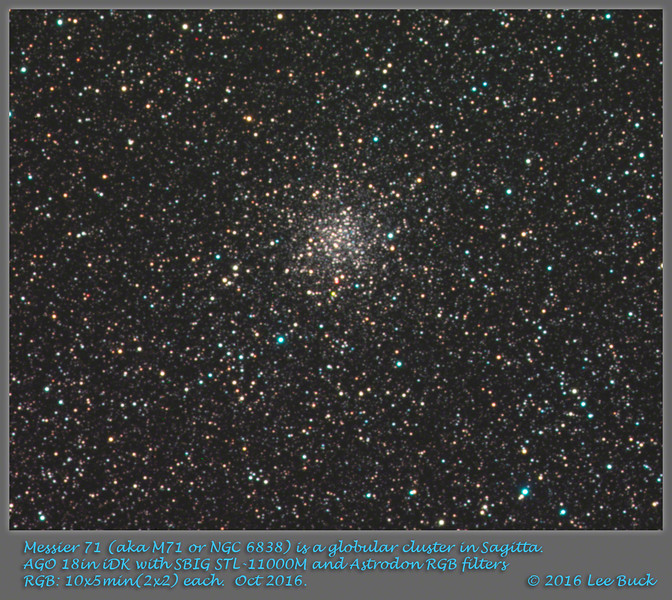 Messier 71 (aka M71 or NGC 6838) is a globular cluster in Sagitta