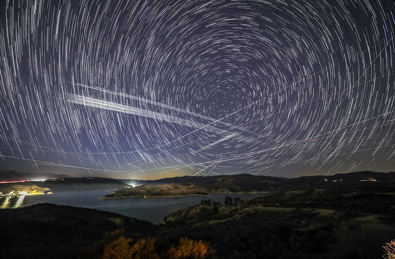 Starlinks 24L and 25L pass over Castaic Lake, CA. 191 Stacked Images. 05-06-2021