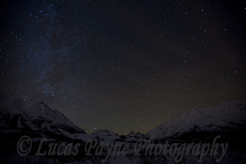 The Milky Way over the Talkeetna Mountains at the Gold Mint Trail head near Hatcher Pass.<br /> January 9, 2009