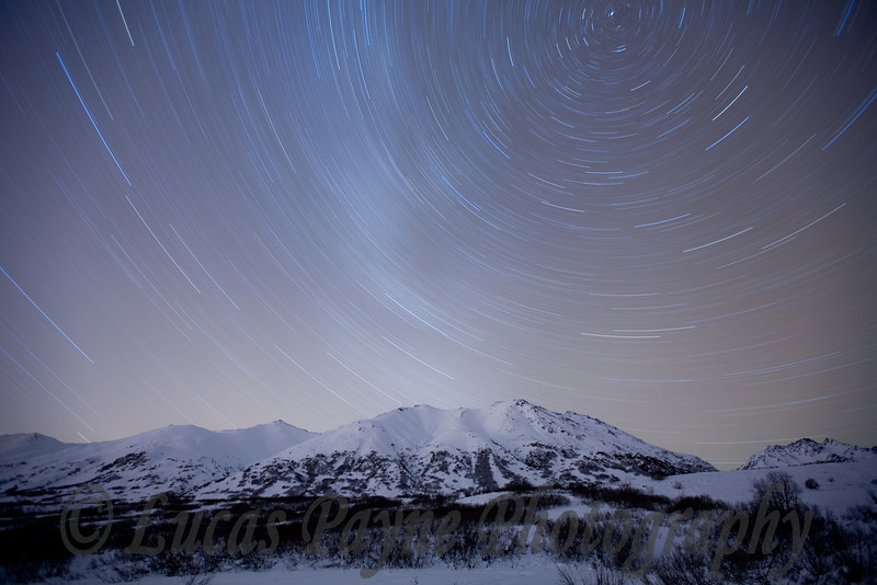 Star Trails over the Talkeetna Mountains at the Gold Mint Trail head near Hatcher Pass.<br /> 1 hour exposure<br /> January 9, 2009