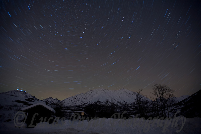 Star Trails over the Talkeetna Mountains at the Gold Mint Trail head near Hatcher Pass.<br /> January 9, 2009