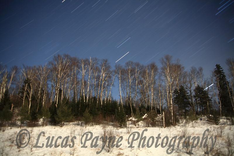 Star Trails on Sawbill Trail in Minnesota.