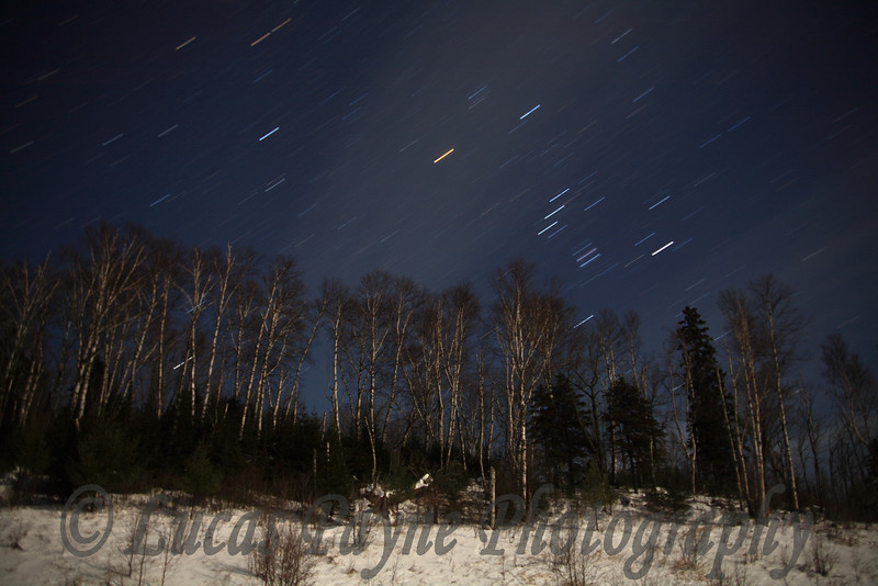 Star Trails on Sawbill Trail in Minnesota. As you can see in the middle, some clouds passed through during the shot.