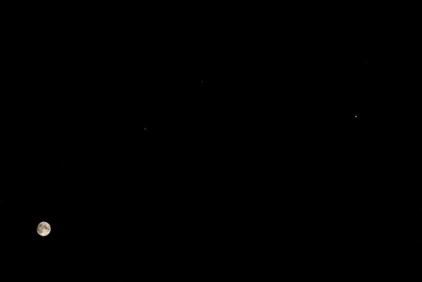The Moon, Jupiter and Saturn