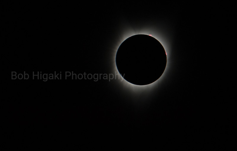 Inner corona shot with prominence ( a stream of incandescent gas projecting above the sun's chromosphere. )<br /> <br /> This is totality
