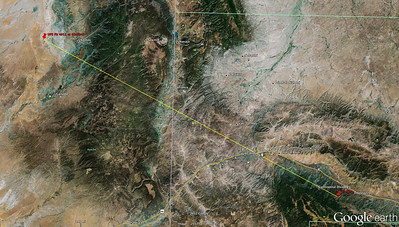 Google earth map showing location of the camera south of Continental Divide, NM and the location of UPS Flight 4911 at the time the previous photo in this gallery was made. Range to the aircraft was 71 miles.