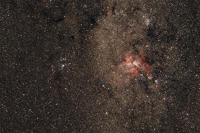 Eta Carina nebula and Southern Pleiades