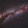 Milky Way Galaxy; Pentax 67 45mm f/4.0; 180 minutes; Kodak E200; Pentax 67