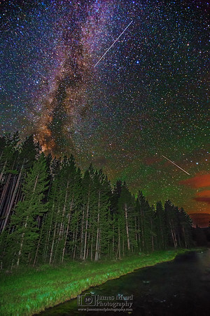 The Milky Way and Perseid Meteors over Nez Perce Creek, Yellowstone National Park