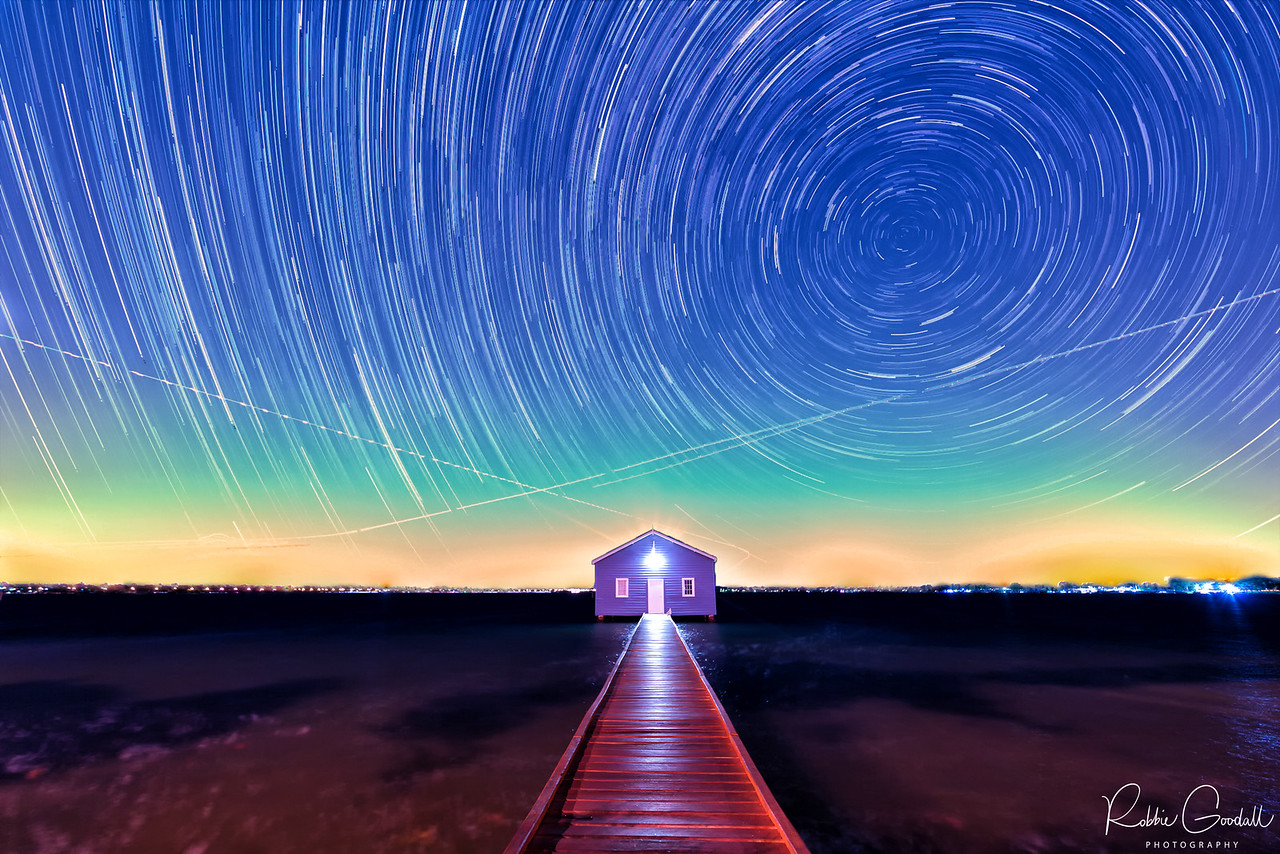 Startrails over Crawley Edge Boathouse - Crawley, Western Australia