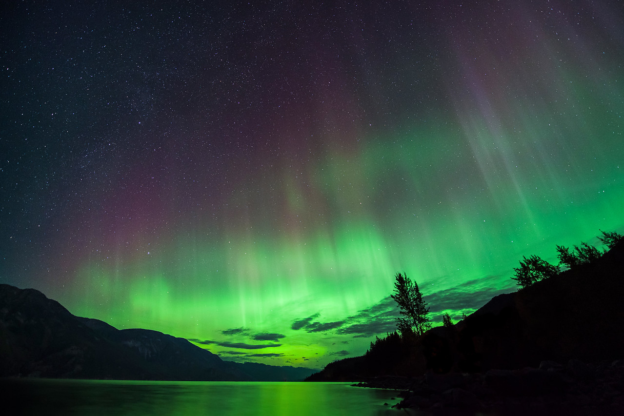Aurora at Kootenay Lake, British Columbia