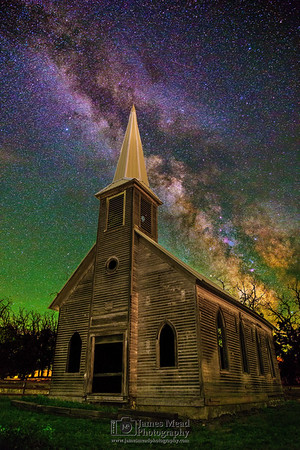 """""""Welcome to the Past,"""" the Milky Way over an Abandoned Church, Oregon, United States"""