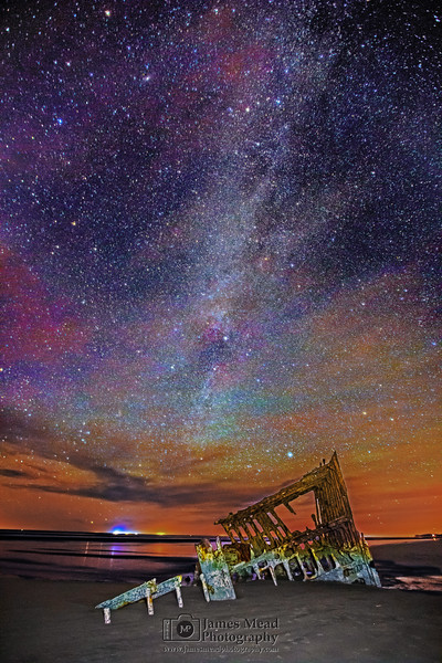 Winter Milky Way over The Wreck of the Peter Iredale, Oregon Coast