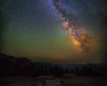 The Milky Way rises over Conrad Mountian, Lassen Volcanic National Park