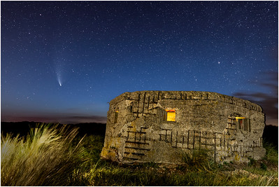 Comet C/2020 Neowise, Milky Way and pillbox, Horsey, Norfolk, United Kingdom, 21 July 2020