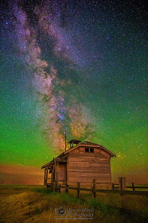 """""""Abandoned Starlight,"""" the Milky Way over an Abandoned One Room Schoolhouse, Oregon, United States"""