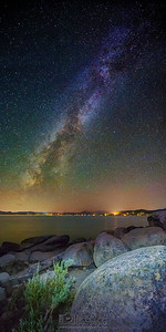 Milky Way over Rock Beach, Lake Tahoe, Nevada