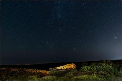 Wrecked boat and Milky Way, Blakeney, Norfolk, United Kingdom, 13 September 2020