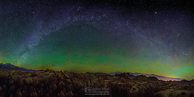 """Sierra Winter Arch,"" Winter Milky Way Arch over the Alabama Hills, Sierra Nevada Mountains and Owens Valley, Sierras Nevada Mountains, Lone Pine, California"