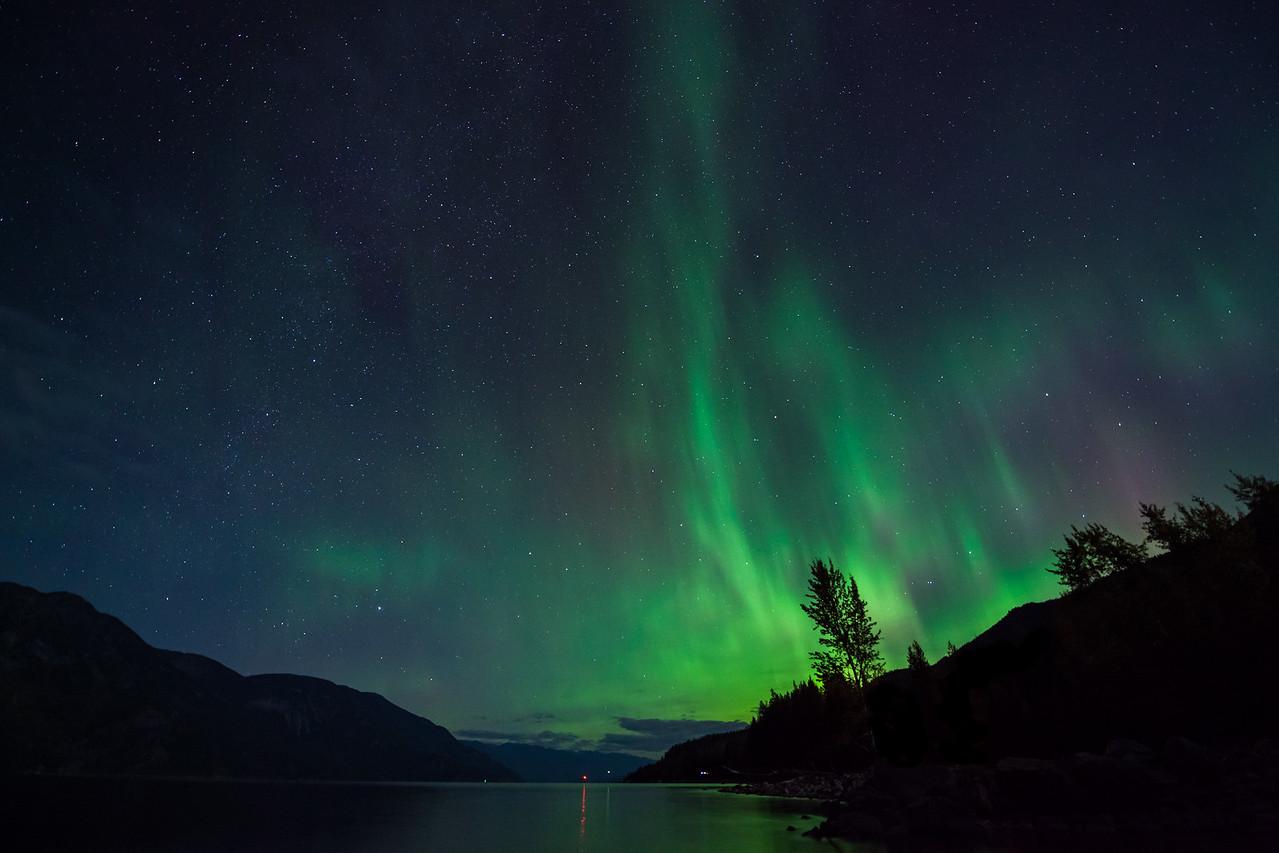 Aurora at Kootenay Lake, British Columbia