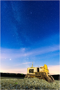 Milky Way and tractor on beach, Cley, Norfolk, United Kingdom, 21 June 2020