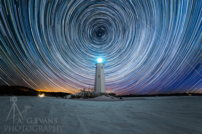 Loon Island Light Star Trails