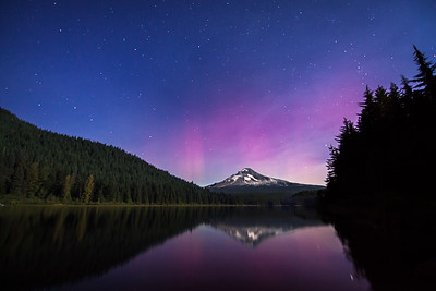 Aurora over Mt. Hood from Sparks Lake